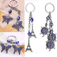 Blue Eyes Key Chain Ring Evil Eye Bead Good Lucky Charm Keyring for Men Women
