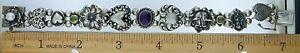 Vintage Art Nouveau Amethyst & Peridot Sterling Silver SLIDE CHARM Bracelet~WOW!