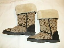 Womens COACH Nikole Brown Signature Fur Shearling Lined Winter Boots Size 7 M