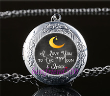 I Love you to the moon & back Glass Tibet Silver Chain Locket Pendant Necklace