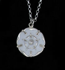 White Rose Jewellery, Sterling Silver Yorkshire Rose Necklace 27mm