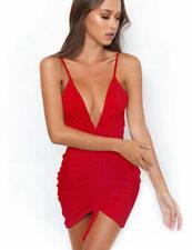 3ec13965a4a8 Abito nudo Arricciato Scollo aderente Party Cerimonia Cocktail Ruched Dress  S