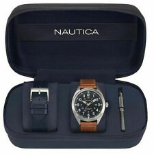 Men's Nautica Battery Park Collection 44mm Leather Band Watch NAPBTP008