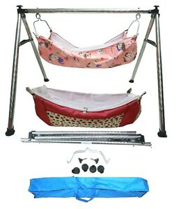 Smart Folding Steel Cradle Round Pipe with two cotton hammock with mosquito net