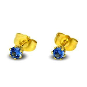 Tiny Blue 4mm Stud Earrings 9ct Yellow Gold Filled Girls Womens 6 Claw