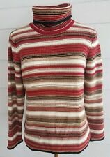 Talbots Small Petite SP Sweater Turtle Neck Striped Multi Color Long Sleeve