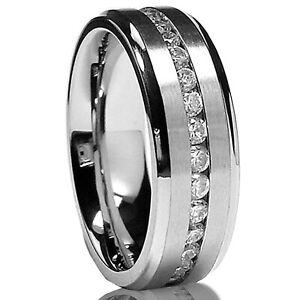 7MM Men's Eternity Titanium Ring Wedding Band with Cubic Zirconia CZ