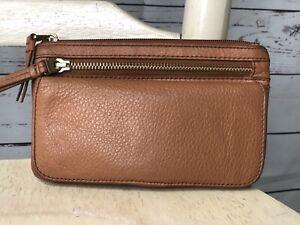 FOSSIL EXPLORER British Tan Leather Clutch Wallet Pouch Medium Brass Hardware