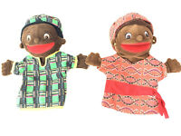 Lot of 2 Plush Hand Puppets African Man And Woman Lakeshore Rare
