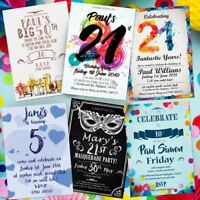 Birthday Party Invitations 18th 21st 30th 40th 50th Personalised Invites !