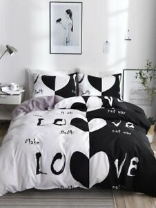 Twin 2 Piece Duvet Set, Black And White Hearts And Love Theme.