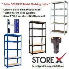 More details for metal shelving unit boltless 5 tier garage storage shelves warehouse heavy duty
