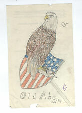 1876 OLD EAGLE U. S. AMERICAN FLAG Antique American Patriotic Shield Folk Art