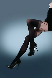 Quality Tights UK Silky Signature Black Mock Suspender Opaque Tights Medium