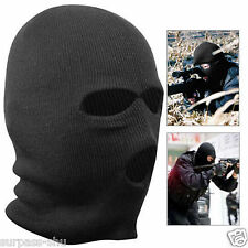 3 Hole Winter Hot Mask Soft SAS Style Army Ski Hat Neck Warmer Black Balaclava