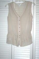 Sheer Small Beige Sleeveless Top/Button Down Front/Elastic below waist/preowned