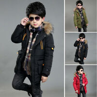 Kids Boys Winter Trench Coat Puffer Down Jacket Parka Outerwear Hooded Warm
