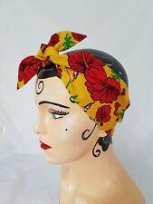 LAND GIRL ROCKABILLY 40s 50s TIE HEADBAND HEAD SCARF YELLOW WITH RED FLOWERS