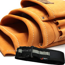 A WORK BELT + Large Leather Electrician Carpenter Tool Pouch Bag Nail Holder