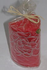 handmade*Design-Kerze*rot mit Rosenblüte*Höhe ca 14 cm