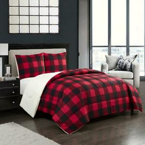 Mainstays Cozy Flannel Reverse to Super Soft Sherpa 3 Piece Comforter Set, Full/