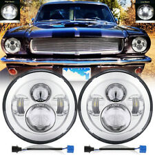 For Ford Mustang 1965 1978 7 Inch Chrome Led Headlights Hilo Angel Eyes Pair Fits Mustang