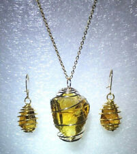 """Andara Crystal Pendant Necklace/Earrings Set Caged """"Lemurian Amber"""" 18"""" GP"""