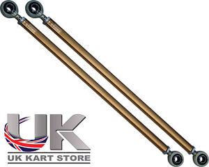 TonyKart / OTK Replacement Gold Aluminium Track Rod 268mm & Ends Set x 2 Go Kart