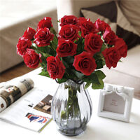 10 Pcs/pack Pretty Head Real Latex Rose Flowers For Wedding Bouquet Supply