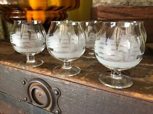 6 Etched Clipper Ship Glass Brandy Snifter JAVIT CRYSTAL Nautical Boat Sea Vtg