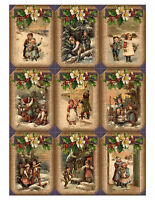 Hessian Edge Style Vintage Christmas Glossy Finish Card Making Topper - Crafts