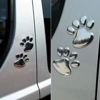 2Pcs Cute 3D Dog Footprints Emblem Car Emblems Badge Sticker Decoration   AU
