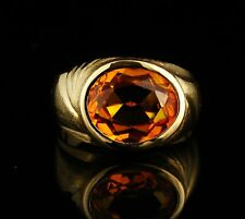 VINTAGE ESTATE OVAL NATURAL 6.0ct MADEIRA CITRINE SOLID 14K GOLD LARGE MENS RING