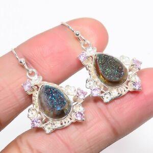 "Titanium Druzy & Kunzite Quartz 925 Sterling Silver Earring Jewelry 1.46"" S2670"