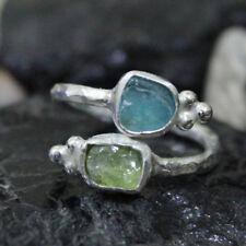 Handmade Designer Green and Blue Rough Apatite 925K Sterling Silver