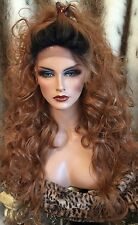 Human Hair Blend LACE FRONT Long Loose Curls,Rooted,Strawberry Blonde Wig!