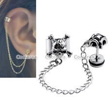 Unisex Punk Stainless Steel Skull Ear Cartilage Cuff Ring Chain Earring Stud