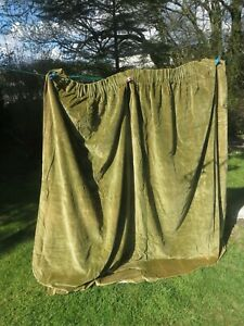 "Green Cotton Velvet Curtain - 91"""" wide x 73""drop ."