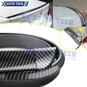 4.5ft Carbon Fiber PU Rear Roof Trunk Tail Spoiler Wing Lip Trim Sticker Decor