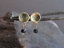 14k Yellow gold earrings with Black Spinel.Handmade unique dangle earrings.