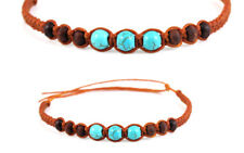 Beaded Anklet Brown Copper Colour Turquoise Gypsy Boho Ankle Bracelet Mens Women