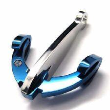 Cadena de anclaje acero inoxidable azul anchor Necklace pedrería remolque collar cadena bala