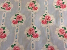 DAISY KINGDOM #4411 BALLET ROSE BOUQUETS- BABY BLUE W/ PINK ROSES- BY THE YARD