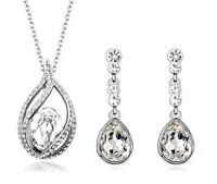 Bridal Jewellery Set Silver & White Shiny Crystal Drop Earrings & Necklace S512