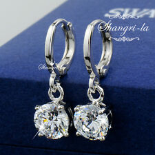 18K White GOLD GF 1.5ct Wedding DANGLE EARRINGS with SWAROVSKI Lab DIAMOND SX455