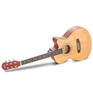 """New Glarry 38"""" Spruce Front Cutaway Folk Acoustic Guitar with Travel Bag"""