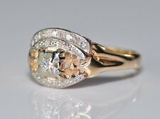 Antique Rose Gold Old Cut Diamond Floral Flower  Wedding & Engagement Ring Set