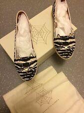 Women's Charlotte Olympia Black & White Flats Shoes Capri Cats UK 6 EU 39 US 8