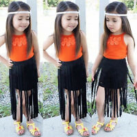 2PCS Toddler Kids Baby Girl Summer Clothes Floral Tops+Tassel Skirt Dress Outfit