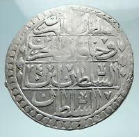 1789-1807 AD TURKEY Sultan Selim III Ottoman Empire Silver Yuzluk Coin i80873